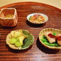 Little flavors: The hassun (second course) featured shimesaba (marinated mackerel) and ginko nuts as well as other seasonal ingredients. | J.J. O'DONOGHUE