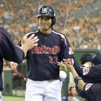 Swallows infielder Tetsuto Yamada led the Central League in home runs and finished second in batting average and RBIs. | KYODO