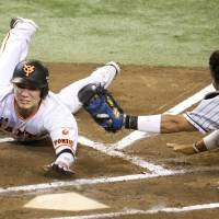 Yomiuri's Hayato Sakamoto slides home to score on a wild pitch in the sixth inning of the Giants' 3-1 win over the Tigers in Game 3 of the Central League Climax Series first stage on Sunday. | KYODO