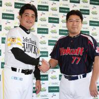Hawks manager Kimiyasu Kudo and Swallows skipper Mitsuru Manaka lead their respective teams into the Japan Series. Game 1 is scheduled to start at 6:30 p.m. on Saturday at Yafuoku Dome. | KYODO