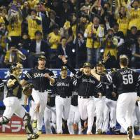 The Fukuoka Softbank Hawks storm onto the field and celebrate their championship-clinching victory in Game 5 of the Japan Series on Thursday night at Jingu Stadium. The Hawks defeated the Tokyo Yakult Swallows 5-0 in the series finale. | KYODO