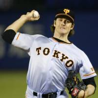 Giants starter Miles Mikolas, who went 3-0 against the Swallows during the regular season, was the losing pitcher on Thursday. In 5⅓ innings, he allowed four runs on eight hits. | KYODO