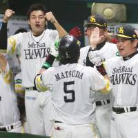 The Hawks had plenty of reasons to be upbeat and happy during Game 1 against the Swallows on Saturday, including Nobuhiro Matsuda's fourth-inning home run.   KYODO