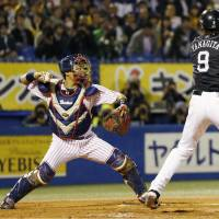 Swallows catcher Yuhei Nakamura was an alert presence behind the plate in Game 3. | KYODO