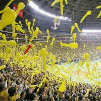 There was a lively atmosphere inside Yafuoku Dome for Game 1 of the Japan Series.   KYODO