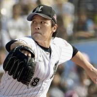 Chiba Lotte's Takahiro Fujioka delivers during the third inning of the Marines' 5-3 win over the Fighters on Sunday. | KYODO