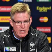 Fiji coach John McKee speaks during a news conference on Sept. 30, in Cardiff, Wales. | AFP-JIJI