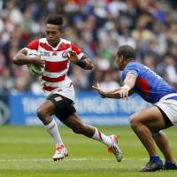 Japan's Kotaro Matsushima competes against Samoa at the Rugby World Cup on Saturday. | REUTERS