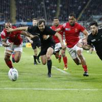 All Blacks score seven tries in rout
