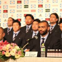 Japan captain Michael Leitch speaks during Tuesday's news conference in Tokyo. | KAZ NAGATSUKA