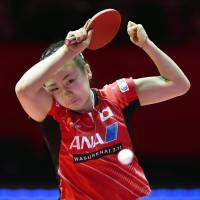 Table tennis standout Ai Fukuhara competes in the Women's World Cup stop in Sendai on Saturday. | KYODO