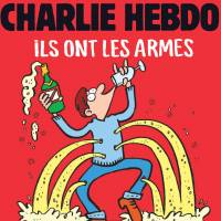 Satirical mag Charlie Hebdo raises glasses to party-goers