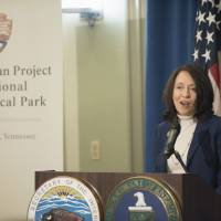 Sen. Maria Cantwell speaks at a signing ceremony for a memorandum of agreement to establish the Manhattan Project National Historic Park, Tuesday, at the Interior Department in Washington. | AP