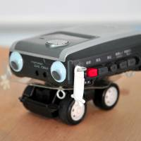 Copy Robot, a Hebocon robot incorporating a cassette player, is displayed at Tokyo Design Week.   YOSHIAKI MIURA