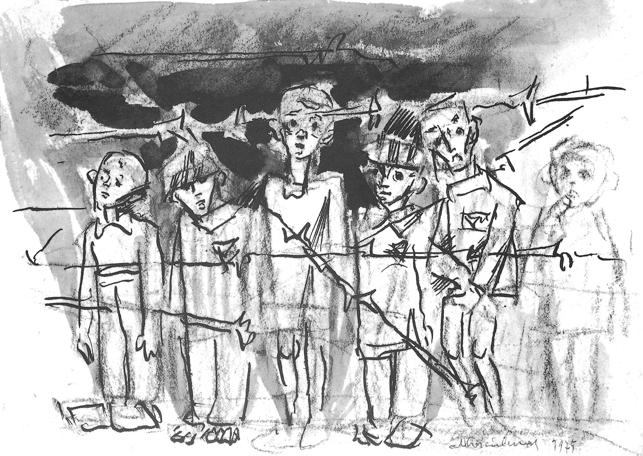 A drawing by Mieczyslaw Koscielniak, titled 'Children Behind Wire,' depicts internees at the Auschwitz-Birkenau concentration camp, where Koscielniak was held between 1941 and 1945. | COURTESY OF MICHIKO NOMURA