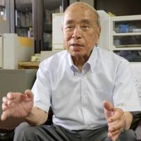 Former Okinawa Gov. Masahide Ota is interviewed in Naha in August. | KYODO