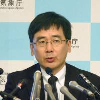 Meteorological Agency official Koji Nakamura speaks in Tokyo on Saturday about a quake that struck off Kyushu earlier in the day. | KYODO