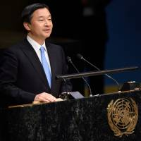 Crown Prince Naruhito speaks on the floor of the General Assembly Hall at the Special Thematic Session on Water and Disaster on Wednesday at the United Nations in New York. | AFP-JIJI