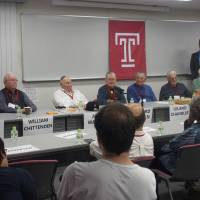'I've never carried any resentment,' former POW William Chittenden (second from left) said at an event at Temple University Japan in Tokyo recently. 'Japan had bad leadership and that's all changed, that's all history.' | COURTESY OF TEMPLE UNIVERSITY JAPAN