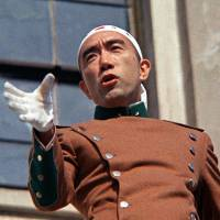 Call to arms: Author Yukio Mishima makes a speech at a Ground Self-Defense Force base in Tokyo on Nov. 25, 1970. | KYODO