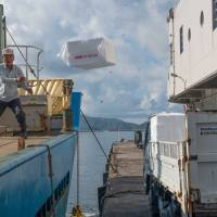 Stevedores unload boxes that will be used as containers for the night's squid catch.   STEPHEN MANSFIELD