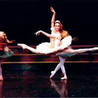 Sylvie Guillem flies gracefully across the stage as Princess Aurora in 'Sleeping Beauty.' | KIYONORI HASEGAWA