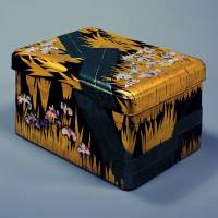 A writing Box with eight bridges and irises in makie lacquer and mother-of-pearl Inlay, a National Treasure by Ogata Korin | TOKYO NATIONAL MUSEUM
