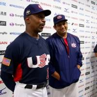 Team USA manager Willie Randolph and starting pitcher Zack Segovia address the media after the team's 6-1 win over the Netherlands on Monday. | KAZ NAGATSUKA
