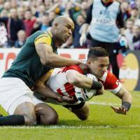 Karne Hesketh's try in the waning moments of Japan's stunning Rugby World Cup win over South Africa was voted as the best match moment at the World Rugby awards on Sunday.   KYODO