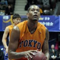 Jeremy Tyler, seen in 2011 playing for the Tokyo Apache, is heading back to China for a second straigh t season. | YOSHIAKI MIURA