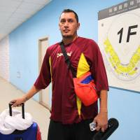 Venezuela pitcher Freddy Garcia stops in the mixed zone after his team's 6-5 loss to Japan at the Premier 12 in Taoyuan, Taiwan, on Sunday.   KAZ NAGATSUKA