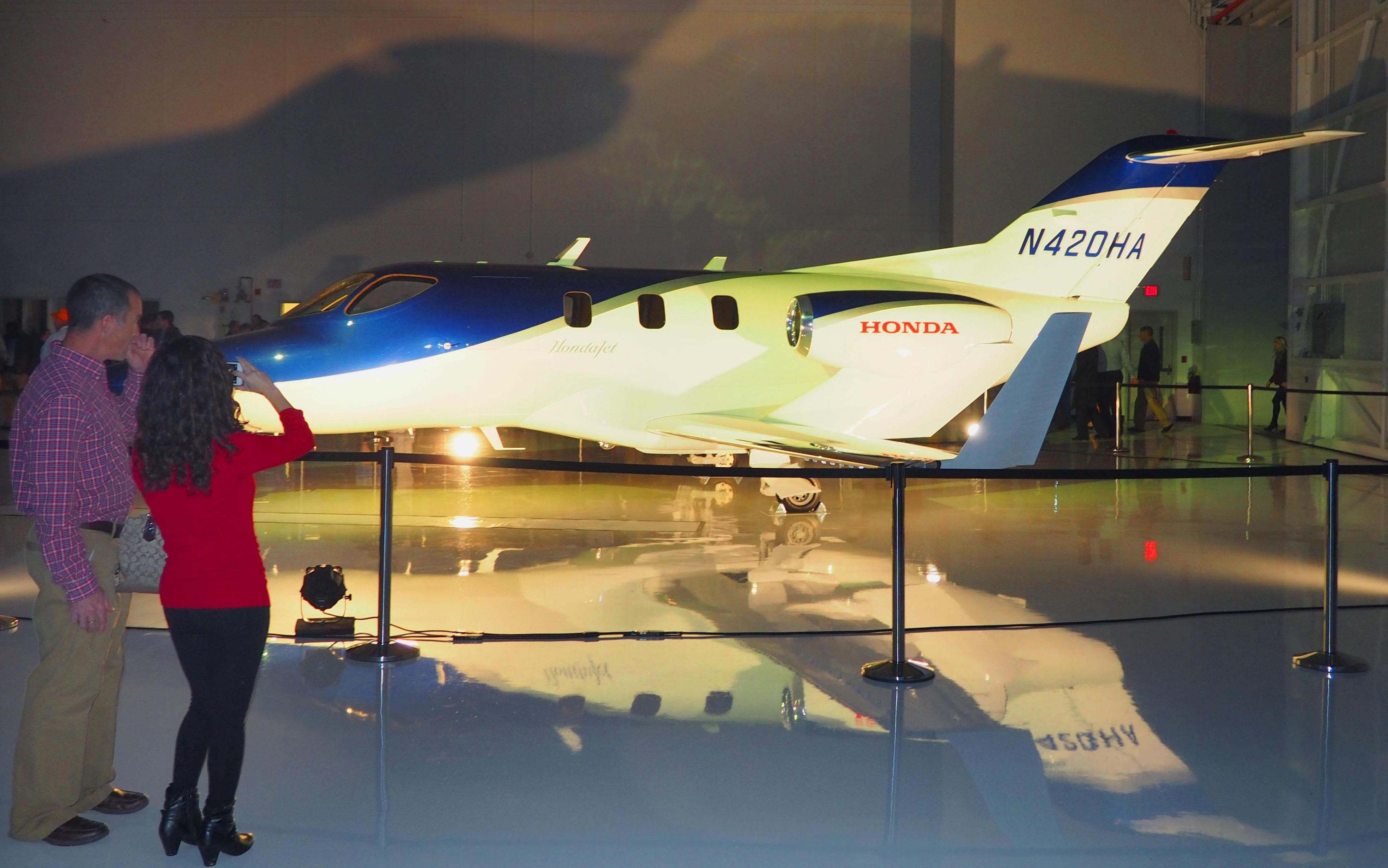 A HondaJet is displayed in Greensboro, North Carolina, where a ceremony was held on Wednesday to celebrate the plane's receipt of airworthiness certification from the U.S. Federal Aviation Administration.   KYODO