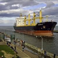 In this photo taken May 12 and provided by the Lake Superior Maritime Visitors Center, the German-operated ship Cornelia enters the harbor in Duluth, Minnesota. The Liberian-flagged cargo ship and crew have been stuck at anchor outside the Lake Superior port for close to a month for unspecified environmental violations and there's no resolution in sight despite the upcoming closure of the St. Lawrence Seaway for the winter, officials said Wednesday. | DENNIS O'HARA / LAKE SUPERIOR MARITIME VISITORS CENTER VIA AP