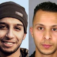 This combination of pictures made Saturday shows an undated picture taken on Nov. 16 from the February 2015 issue 7 of the Islamic State group online English-language magazine Dabiq, purportedly showing 27-year-old Belgian Islamic State group leading militant Abdelhamid Abaaoud (left), also known as Abu Umar al-Baljiki and believed to be the mastermind of a jihadi cell dismantled in Belgium in January, and a handout picture released in a 'appel a temoins' (call for witnesses) by the French Police information service (SICOP) on Nov. 15 showing a picture of Abdeslam Salah, suspected of being involved in the attacks on Nov. 13 in Paris. | HANDOUT / DABIQ AND POLICE NATIONALE / AFP-JIJI
