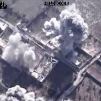 This image made from video made available on Saturday by Al-Mayadeen showsdrone footage allegedly showing Syrian army airstrikes targeting Zahran Allouch, the head of the Army of Islam group near Damascus, Friday. | AL-MAYADEEN VIA AP VIDEO