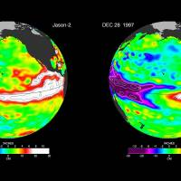 These false-color images provided by NASA satellites compare warm Pacific Ocean water temperatures from the strong El Nino that brought North America large amounts of rainfall in 1997 (right) and the current El Nino as of Sunday. NASA's Jet Propulsion Laboratory says the strong El Nino shows no sign of weakening. | NASA VIA AP