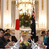 Prime Minister Shinzo Abe and his Australian counterpart, Malcolm Turnbull, hold bilateral summit talks Friday at the State Guest House in Tokyo. | AFP-JIJI