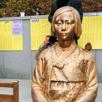 A statue of a girl symbolizing the wartime 'comfort women.' | KYODO