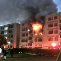 Six injured after fire burns families' apartments in Fukuoka Prefecture