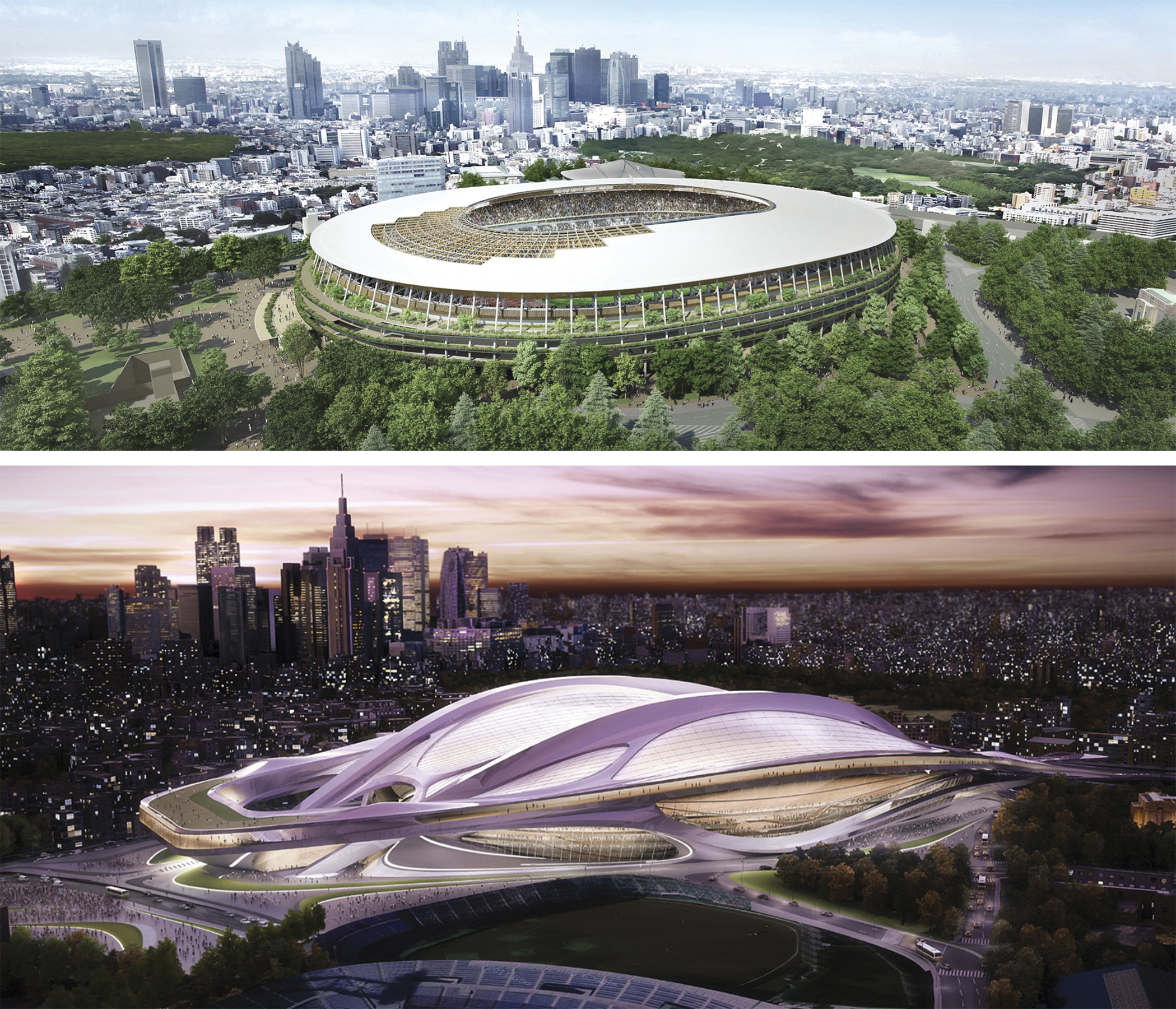 This combination of artist renderings shows the original design (above), by architect Zaha Hadid, of the new stadium for the 2020 Tokyo Olympics selected on Nov. 16, 2012 but which was later scrapped due to controversy over its cost and scale, and the newly selected plan (top) by Kengo Kuma. | Japan Sports Council via AP