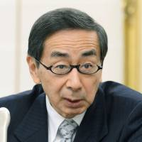 Fukui Gov. Issei Nishikawa announces his approval for restarting reactors 3 and 4 at the Takahama nuclear power plant, during a news conference at the Fukui Prefectural Government offices on Tuesday. | KYODO