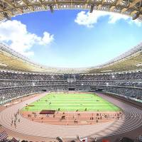 This artist's rendering provided by the Japan Sport Council on Monday shows the interior of Design A proposed by one of two groups competing to build the new National Stadium for the 2020 Tokyo Olympics. | JAPAN SPORT COUNCIL/AP