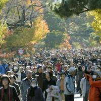 Visitors enjoy walking along Inui Road on the Imperial Palace grounds in Tokyo on Saturday. | KYODO