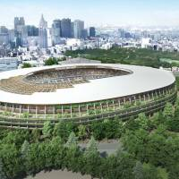 A computer-generated rendition of the new National Stadium design proposed by entity A shows layers of external structures resembling eaves filled with growing plants. | JAPAN SPORT COUNCIL