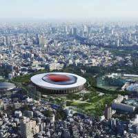 An image shows how the new National Stadium designed by entity 'B' might look like in the leafy area of central Tokyo where it will be built. | JAPAN SPORT COUNCIL