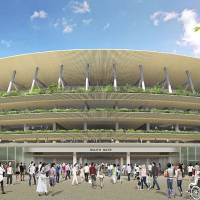 This artist rendering provided by the Japan Sport Council shows the street view of the new stadium design for the 2020 Tokyo Olympics proposed by architect Kengo Kuma and two companies. | AP