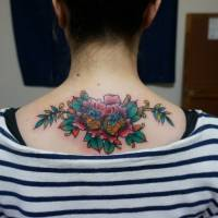 A tattoo by Taiki Masuda is seen on a client's upper back. | PHOTO COURTESY OF TAIKI MASUDA