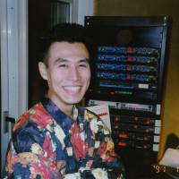 Golden oldie: Soichi Terada poses with some of his equipment (which he continues to use today) in a photograph taken in 1991.
