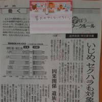 A memo that says 'Please don't hold a funeral for me' is attached to a clipping of a Hokkaido Shimbun newspaper article about workers' compensation in sexual harassment and other cases. This was found in the shed next to the woman's house after the fire. Two days before her death, the woman asked her parents to help her apply for workers' compensation. | KAYOKO KIMURA