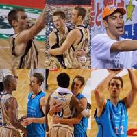 A collage of images showing David Palmer with his Ryukyu Golden Kings and Kyoto Hannaryz teammates from 2010 to present. COURTESY PHOTO